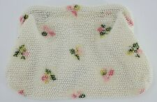New listing Vintage Lumured Beaded Hand Purse White with Pink Petite Roses