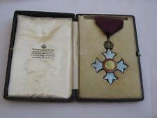 WW1 CBE Sterling Silver/Guilloche Enamel Medal with case Garrards, London.