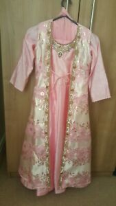 Girls Pink Churidaar Suit With Jacket And With Gold And White Stonework Size 28