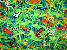 FROG JUNGLE FROGS REALISTIC NATURE SETTING COTTON FABRIC BTHY