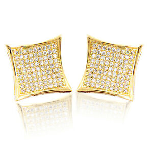 Mens 14k Gold Over Silver Caved Square Kite Double Screw Back Stud Earring