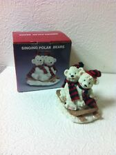 "MUSCIAL PORCELAIN POLAR BEARS SINGING ""LET IT SNOW"" SITTING ON A SLED NIB"
