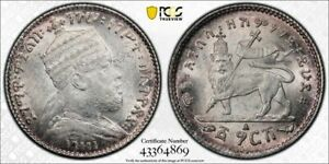 Ethiopia PCGS AU 58 EE-1895-A (1903)  silver Gersh