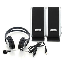 New USB Stereo Headphone Headset + 3.5mm Jack PC Laptop Speakers for Lenovo Dell
