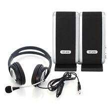New USB Stereo Headphone Headset + 3.5mm Jack PC Laptop Speakers for Lenovo