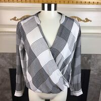 SPLENDID Anthropologie S Black White Eastridge Plaid Crossover Hi Lo Blouse