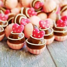 10x Mini Pink Heart Cupcake Dollhouse Miniatures Food Bakery Sweet Decoration