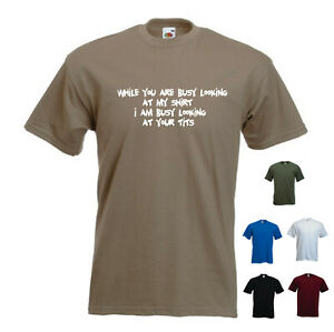 'While you are busy looking at my shirt' Mens Gift SALE Burgundy Red Large L