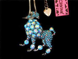 Betsey Johnson Blue Rhinestone Dog Puppy Poodle Pendant Chain Sweater Necklace