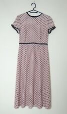 Hobbs Powder Pink Polka Dot Dress UK8 Short Sleeve Lined 50's Style Lightweight