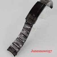 Wristwatch Oyster Bracelet 20mm width Nologo Black PVD Plated Deployment Clasp