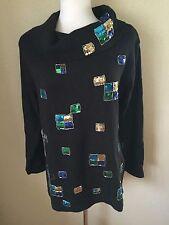 Victoria Jones Cowl Neck Tunic Sweater Size M Black w/Sequins Ramie/Cotton NWOT