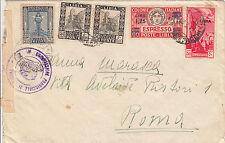 LIBIA-Due 50c(51)+50c(28)GEMELLI+25c(49)+1,25(Ex17)-Busta Tripoli->Roma 3.3.1942