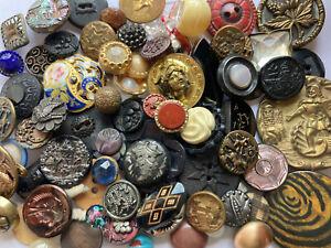 Large Lot Of Antique Vintage Buttons Metal Picture Mop Glass Victorian Etc #4