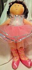 "Soft 22"" Ballerina Doll Pink TuTu Slippers Ribbons Auburn Hair Blk Button Eyes"