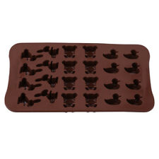 24 Cavity Brown Chocolate Rabbit Duck Bear Animals Silicone Molds DIY B