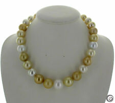 gorgeous 11-12mm south sea  round gold white multicolor pearl  necklace 18inch