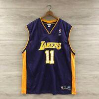 Vintage Los Angeles Lakers #11 Karl Malone NBA Reebok Basketball Jersey Size 2XL