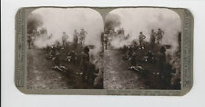 WWI Stereoview (Realistic) -Early morning camp fires and breakfast, Persian Gulf
