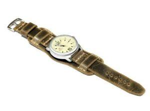 Leather cuff watch strap, Bund band 20 22 24 26mm Black, Brown Aviator cuff mens