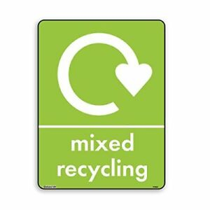 Mixed Recycling Bin StickerSign - WRAP, Self Adhesive Vinyl [A6 100mm x 150mm]