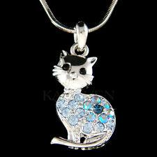 w Swarovski Crystal Blue Kitty Cat Kitten Cute animal Charm Necklace Jewelry New