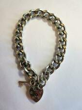 VINTAGE STERLING SILVER CHARM BRACELET with HEART SHAPED PADLOCK CLASP - 28.2g!