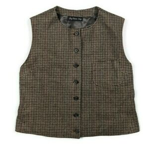 Vintage SOUTHWICK Sims Houndstooth Browns Red Wool Vest Men's Small Made in USA