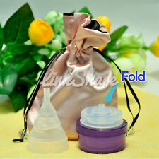 TX SHIP Medical Silicone Menstrual Period Cup Reusable Foldable Soft Transparent