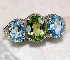 2CT Aquamarine & Peridot 925 Sterling Silver Filigree Ring Jewelry Sz 7,F6-5