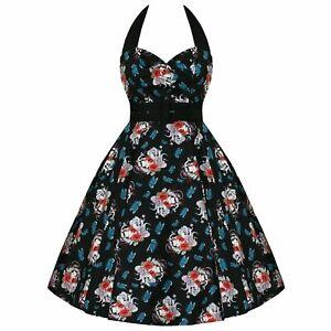 HELL BUNNY Floral 50s DRESS Blue Rockabilly GEISHA All Sizes