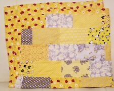 Handmade Baby Quilt Blanket Yellow Fabrics Unisex Boy Or Girl Neutral New! Gift