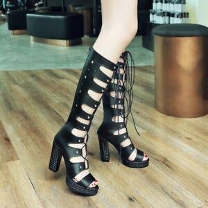 Womens Platform Block Heels Sandals Summer Punk Knee High Boots Gladiator Shoes