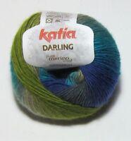 LOT of 10 balls Blue Green Turquoise KATIA DARLING merino wool knitting yarn 200