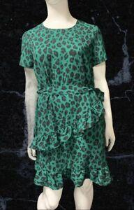 BNWT V By Very Animal Print Green Ruffle Detail Dress Size 18