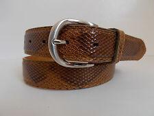 "M Size 34-36 Men's Tan Lizard Print  Genuine Leather Dress Belt Width 1 1/8"""