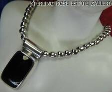 """1 5/8"""" ONYX PENDANT & 6mm BEADS all Sterling Silver 0.925 Estate 20"""" NECKLACE"""