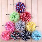 "30pcs 3.6"" Striped Chiffon Ballerina Hair Flower Artificial Waves Fabric Flowers"