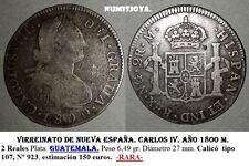 Virreinato Nueva España. Carlos IV. Año 1800 M. 2 Reales. Guatemala. 6,47 gr.