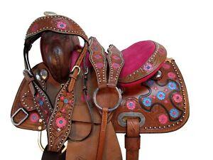 Used Kids Western Saddle Barrel Racing Racer Trail Riding Horse Tack 12 13