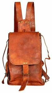Leather Back Pack Rucksack Travel Bag For Men's and Women's Large Genuine dull