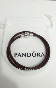 Genuine Pandora Brown Leather Double Bracelet 38cm Long, S925 ALE Valentines G