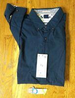 NWT $58 DENIM&FLOWER POPLIN POLKA DOT L.S. Button Up Shirt Men Sz M Blue White