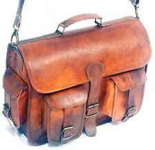 Genuine Leather Bag Messenger Bag Shoulder Laptop Bag Vintage Style Briefcase 07