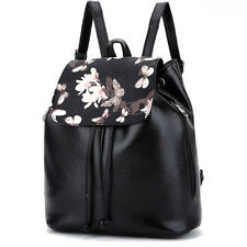 Fashion Leather Women School Backpack Shoulder Bag Flora Print Travel Backpack