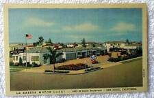LINEN POSTCARD LA CRESTA MOTOR COURT MOTEL SAN DIEGO CALIFORNIA #25