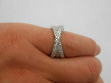 Cocktail Band Twist Ring Size 7.5 Gorgeous 14k Solid White Gold Diamond