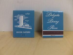 United Nations – Delegates Dining Room 2 x Matchbooks c 1960s