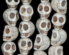 """18X15MM WHITE TURQUOISE HOWLITE GEMSTONE CARVED SKULL HEAD LOOSE BEADS 15.5"""""""