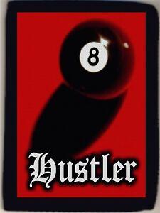 8 Ball Hustler in Old English Pool Logo Men's Trifold Wallet Grab Closure NEW